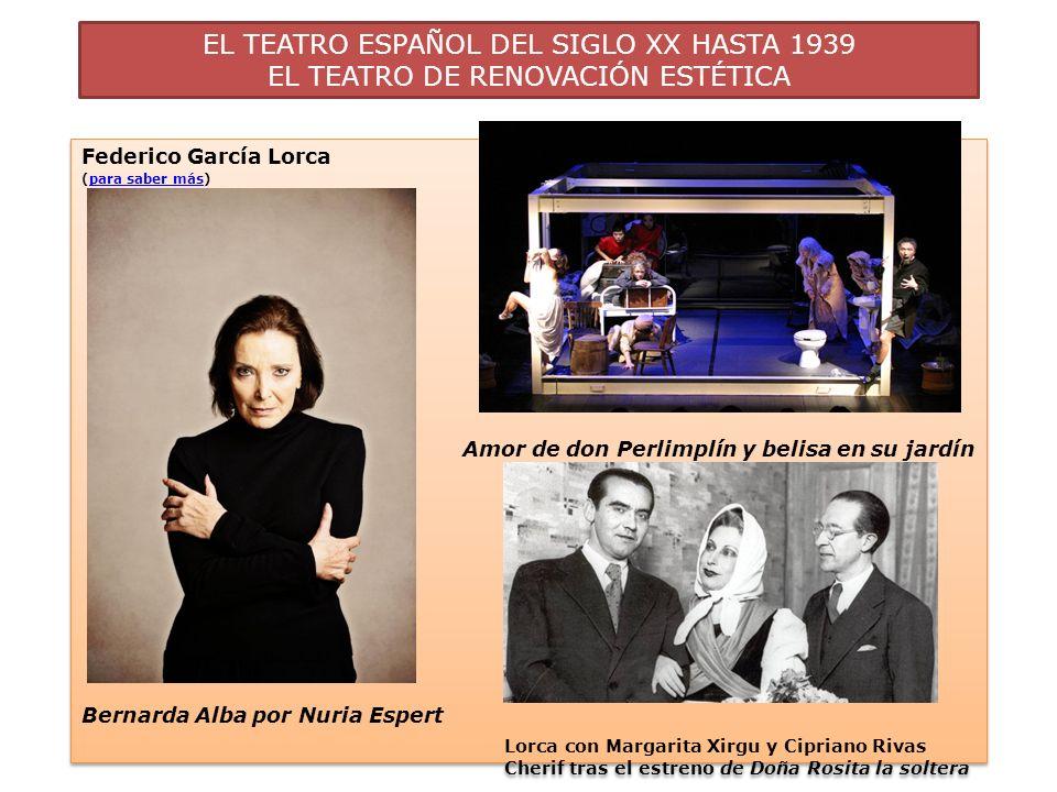 EL TEATRO ESPAÑOL DEL SIGLO XX HASTA 1939 EL TEATRO DE RENOVACIÓN ESTÉTICA Federico García Lorca (para saber más)para saber más Amor de don Perlimplín