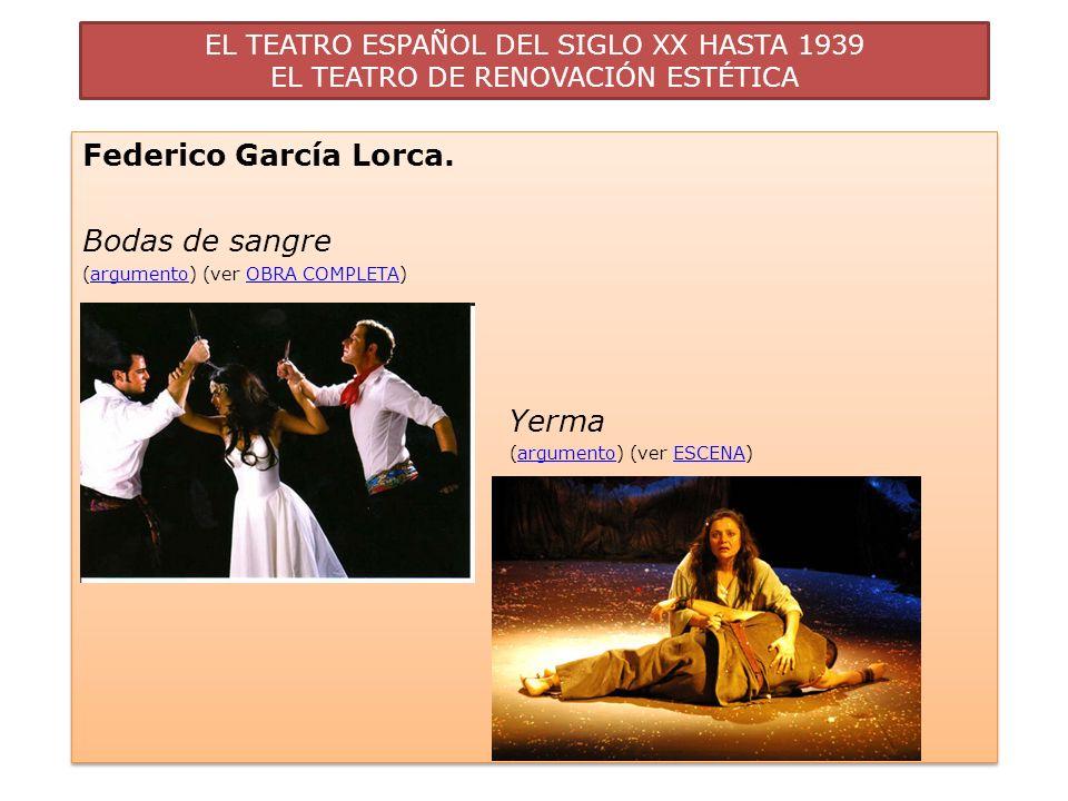 EL TEATRO ESPAÑOL DEL SIGLO XX HASTA 1939 EL TEATRO DE RENOVACIÓN ESTÉTICA Federico García Lorca. Bodas de sangre (argumento) (ver OBRA COMPLETA)argum