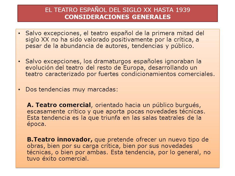 EL TEATRO ESPAÑOL DEL SIGLO XX HASTA 1939 PANORAMA DEL TEATRO COMERCIAL 3 tendencias en teatro comercial: A.La alta comedia o comedia burguesa, representada por Jacinto Benavente.