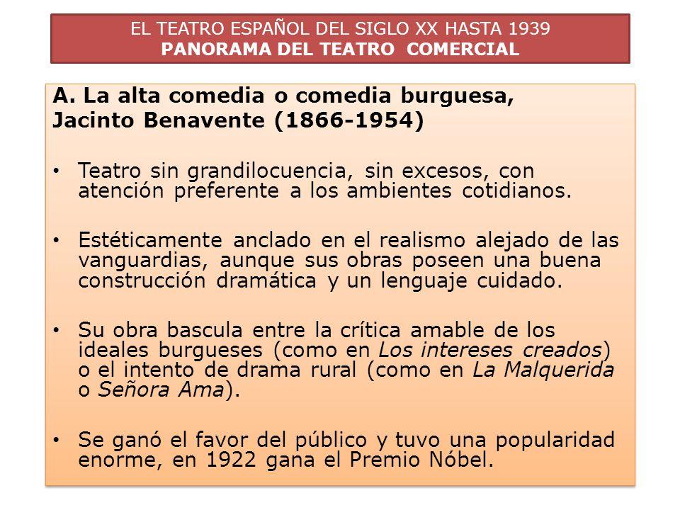EL TEATRO ESPAÑOL DEL SIGLO XX HASTA 1939 PANORAMA DEL TEATRO COMERCIAL A. La alta comedia o comedia burguesa, Jacinto Benavente (1866-1954) Teatro si