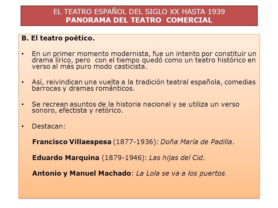 EL TEATRO ESPAÑOL DEL SIGLO XX HASTA 1939 PANORAMA DEL TEATRO COMERCIAL B. El teatro poético. En un primer momento modernista, fue un intento por cons