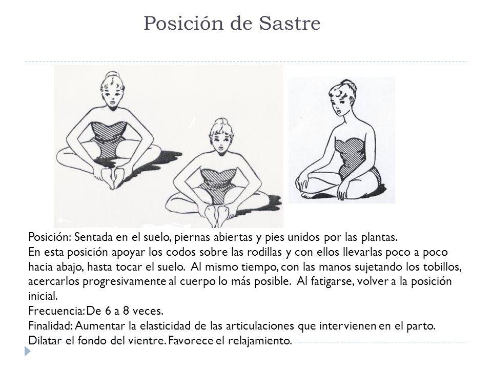 Posición de Sastre Posición: Sentada en el suelo, piernas abiertas y pies unidos por las plantas. En esta posición apoyar los codos sobre las rodillas