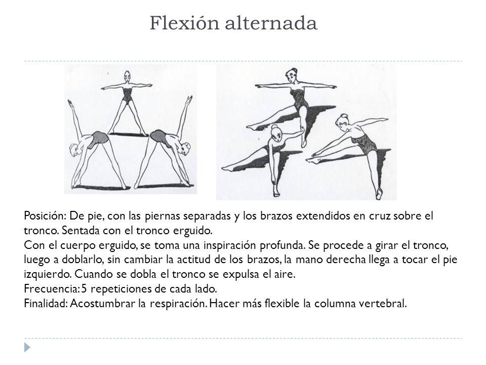 Flexión alternada Posición: De pie, con las piernas separadas y los brazos extendidos en cruz sobre el tronco. Sentada con el tronco erguido. Con el c