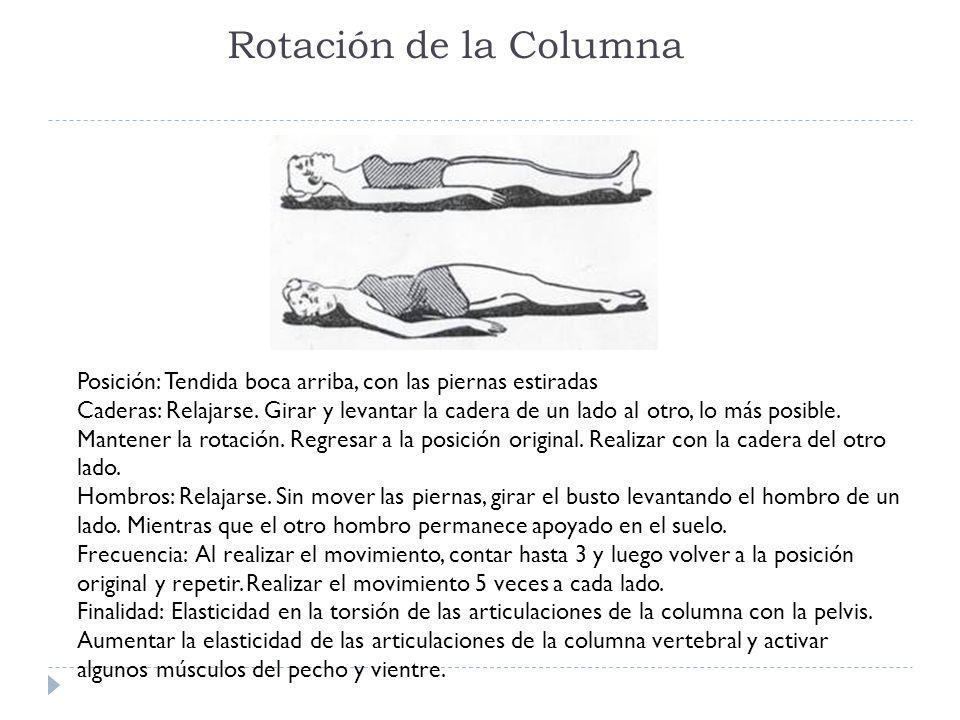 Rotación de la Columna Posición: Tendida boca arriba, con las piernas estiradas Caderas: Relajarse. Girar y levantar la cadera de un lado al otro, lo