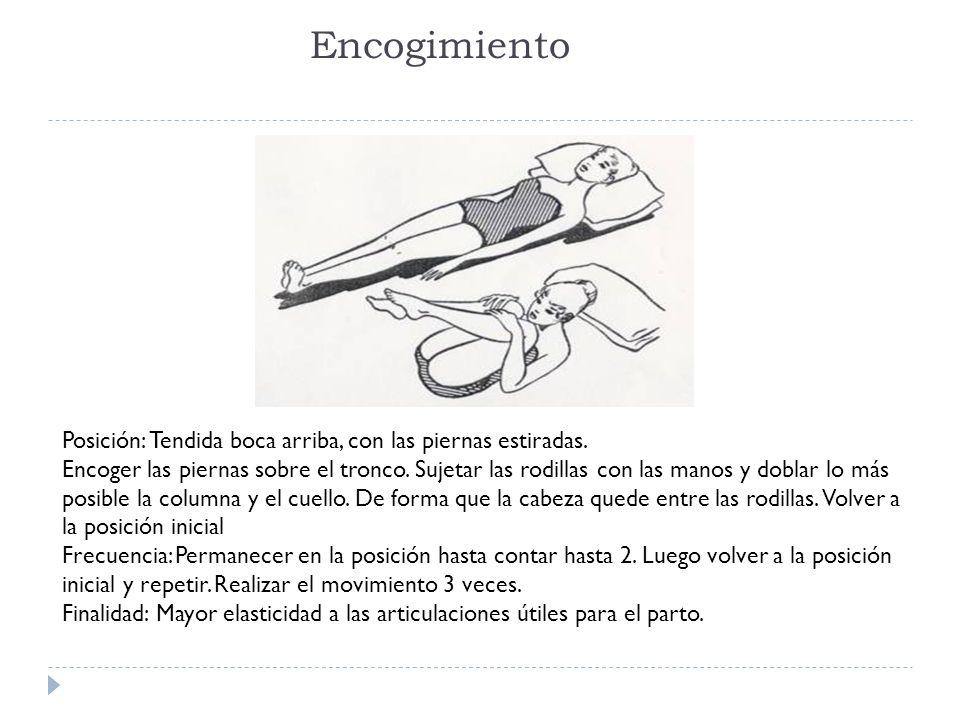 Encogimiento Posición: Tendida boca arriba, con las piernas estiradas. Encoger las piernas sobre el tronco. Sujetar las rodillas con las manos y dobla