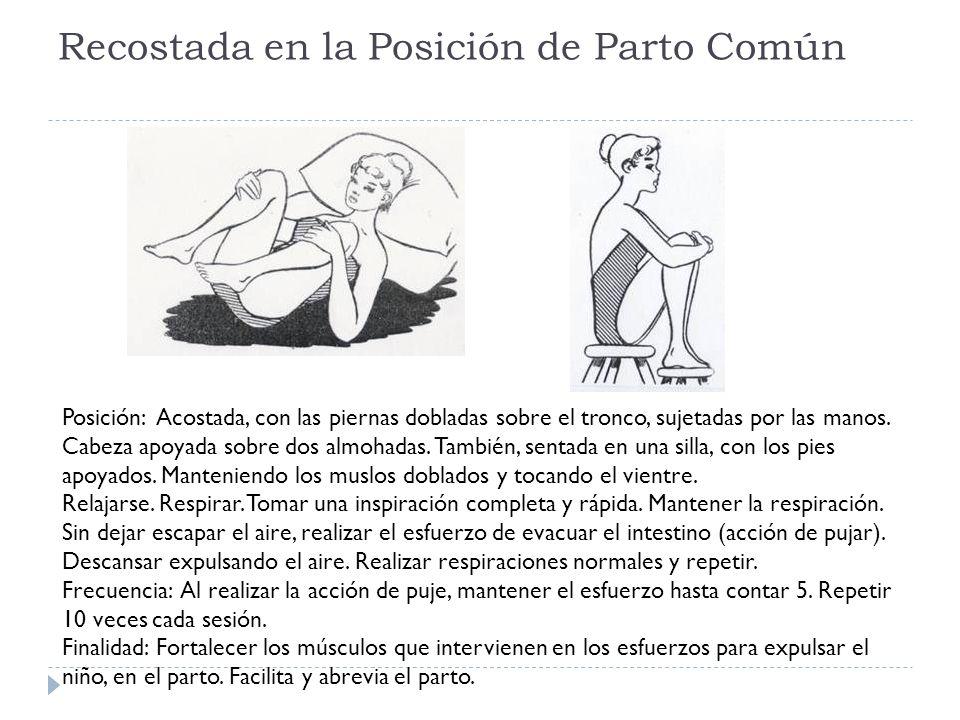 Recostada en la Posición de Parto Común Posición: Acostada, con las piernas dobladas sobre el tronco, sujetadas por las manos.