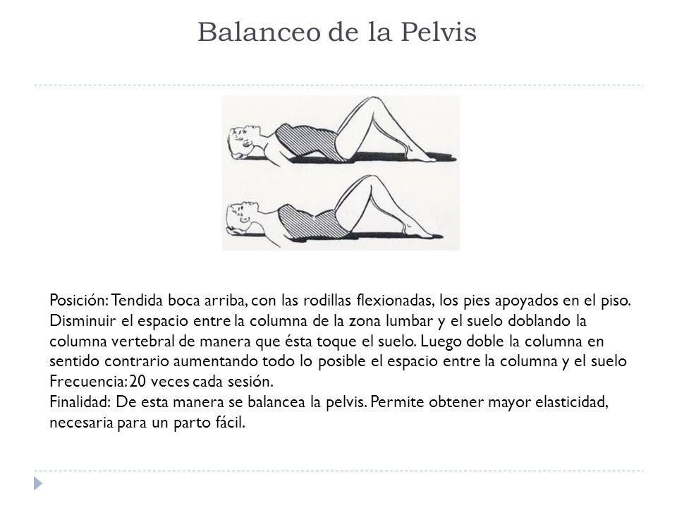 Balanceo de la Pelvis Posición: Tendida boca arriba, con las rodillas flexionadas, los pies apoyados en el piso. Disminuir el espacio entre la columna