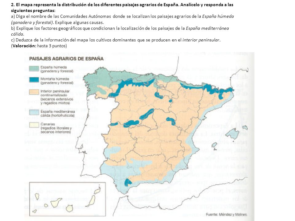 2. El mapa representa la distribución de los diferentes paisajes agrarios de España. Analícelo y responda a las siguientes preguntas: a) Diga el nombr