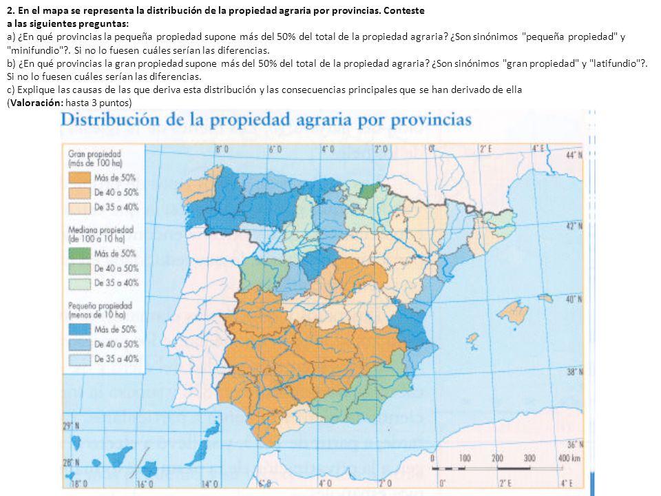 2.A continuación se reproduce un mapa de España con expresión de las superficies de regadío.