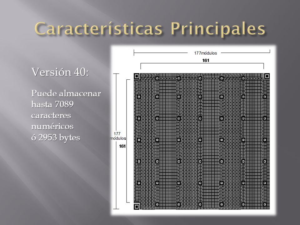 Versión 40: Puede almacenar hasta 7089 caracteres numéricos ó 2953 bytes