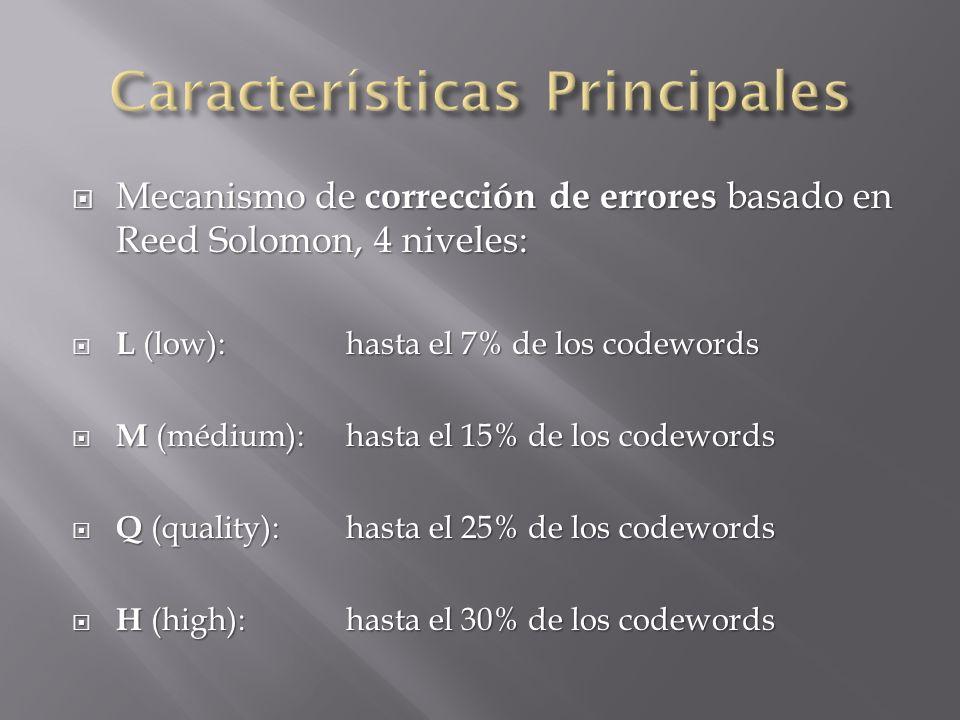 Mecanismo de corrección de errores basado en Reed Solomon, 4 niveles: Mecanismo de corrección de errores basado en Reed Solomon, 4 niveles: L (low): h