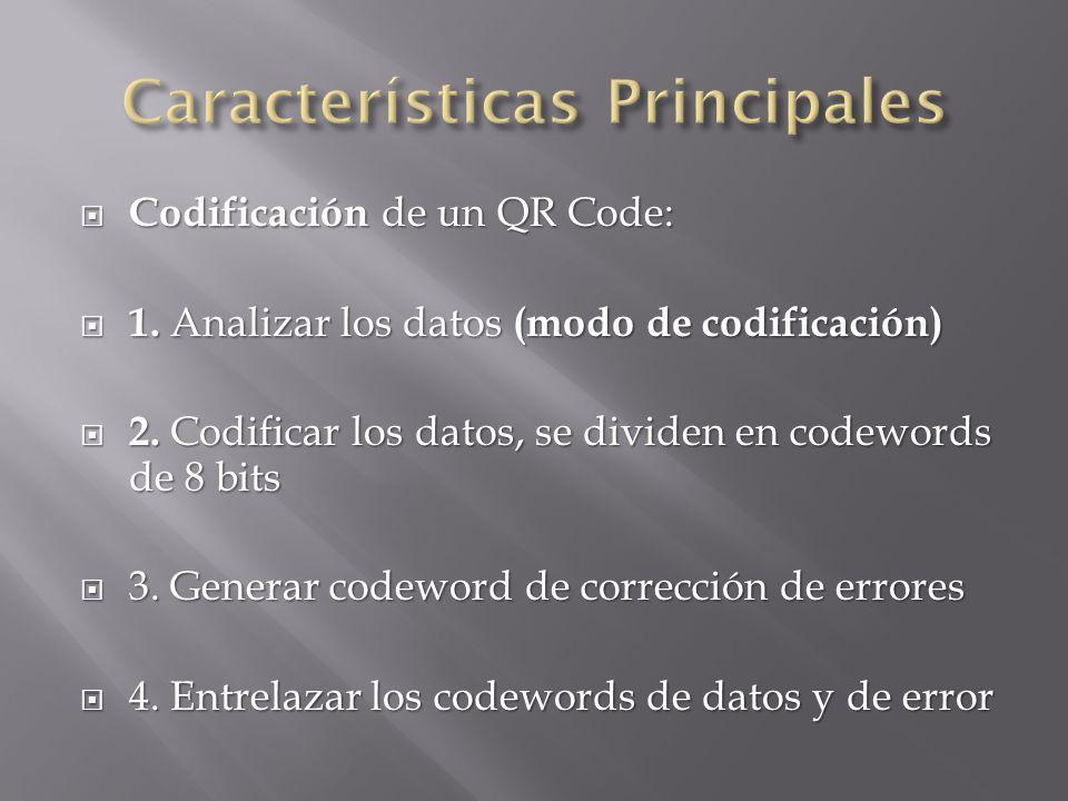 Codificación de un QR Code: Codificación de un QR Code: 1. Analizar los datos (modo de codificación) 1. Analizar los datos (modo de codificación) 2. C
