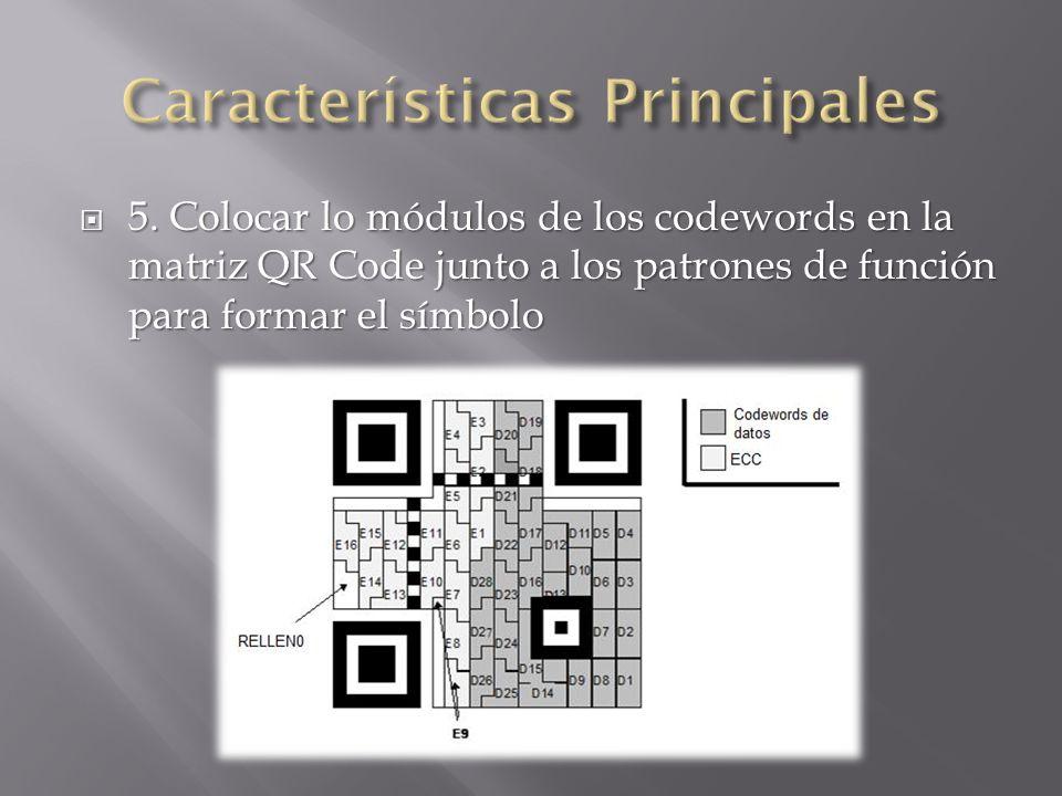 5. Colocar lo módulos de los codewords en la matriz QR Code junto a los patrones de función para formar el símbolo 5. Colocar lo módulos de los codewo