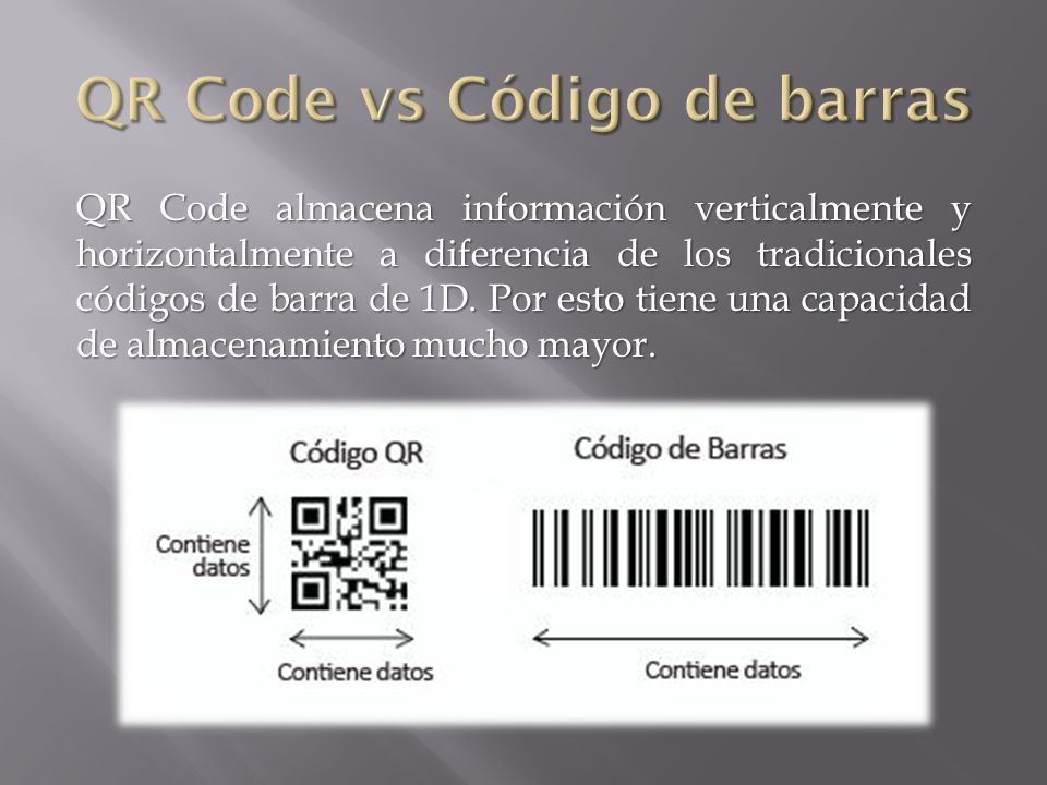 QR Code almacena información verticalmente y horizontalmente a diferencia de los tradicionales códigos de barra de 1D. Por esto tiene una capacidad de