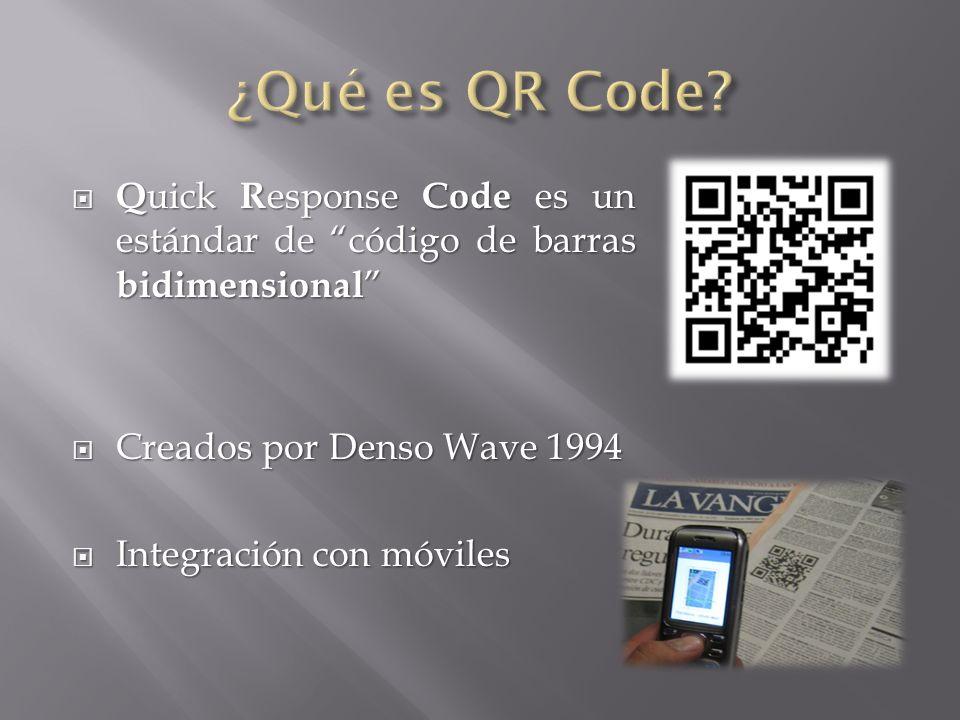 Q uick R esponse Code es un estándar de código de barras bidimensional Q uick R esponse Code es un estándar de código de barras bidimensional Creados