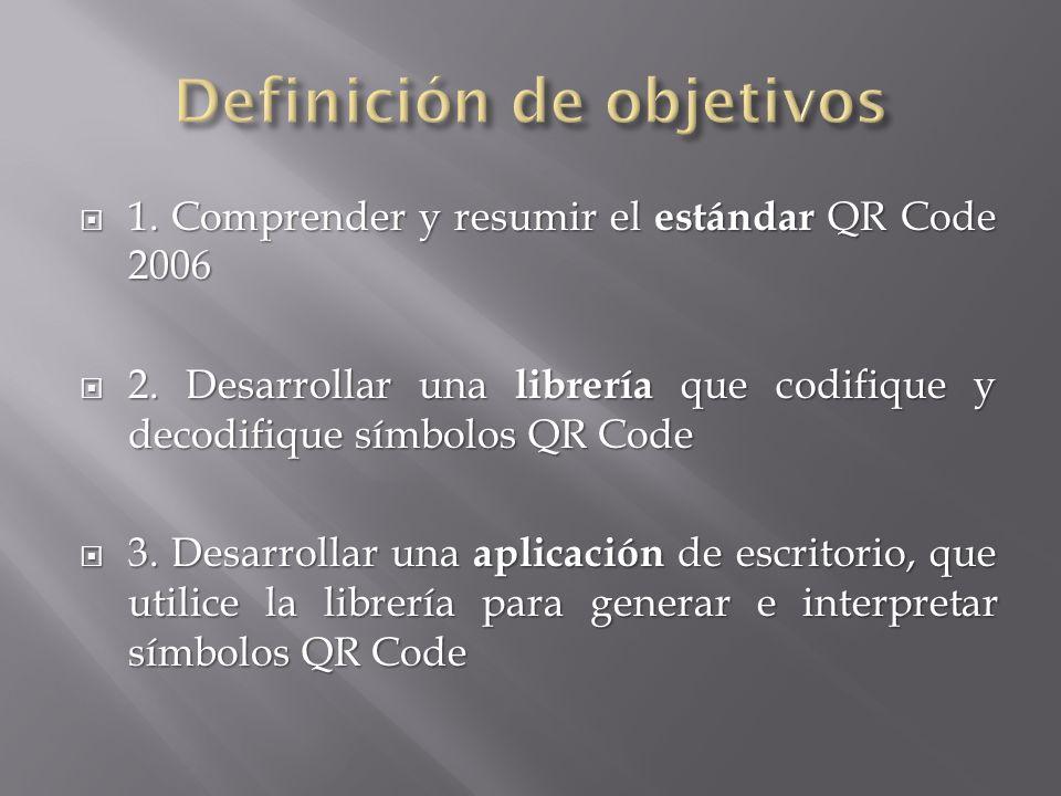 1. Comprender y resumir el estándar QR Code 2006 1. Comprender y resumir el estándar QR Code 2006 2. Desarrollar una librería que codifique y decodifi