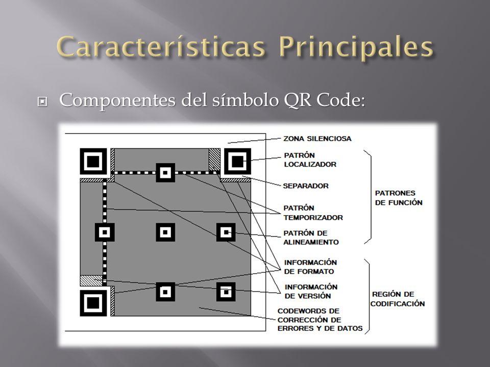 Componentes del símbolo QR Code: Componentes del símbolo QR Code: