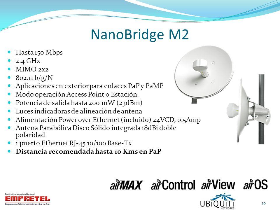 NanoBridge M2 Hasta 150 Mbps 2.4 GHz MIMO 2x2 802.11 b/g/N Aplicaciones en exterior para enlaces PaP y PaMP Modo operación Access Point o Estación. Po
