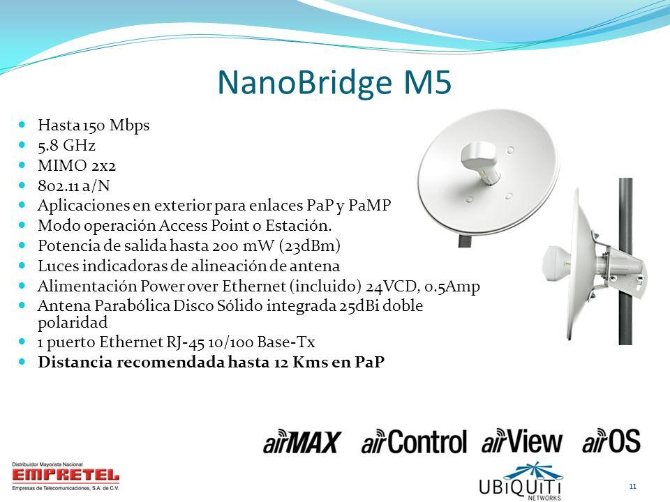 NanoBridge M5 Hasta 150 Mbps 5.8 GHz MIMO 2x2 802.11 a/N Aplicaciones en exterior para enlaces PaP y PaMP Modo operación Access Point o Estación. Pote