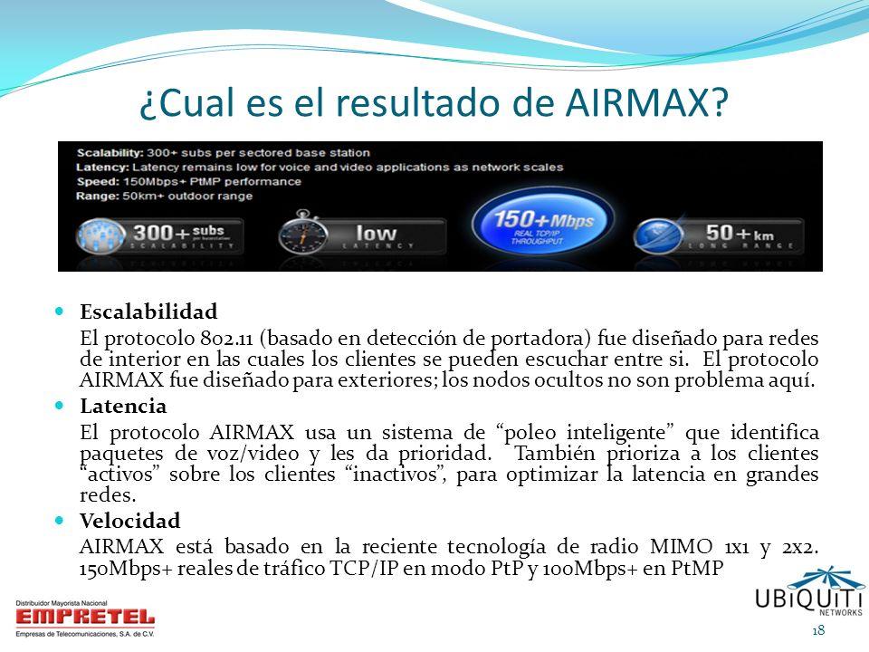 ¿Cual es el resultado de AIRMAX? Escalabilidad El protocolo 802.11 (basado en detección de portadora) fue diseñado para redes de interior en las cuale