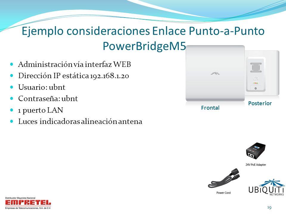 Administración vía interfaz WEB Dirección IP estática 192.168.1.20 Usuario: ubnt Contraseña: ubnt 1 puerto LAN Luces indicadoras alineación antena Eje