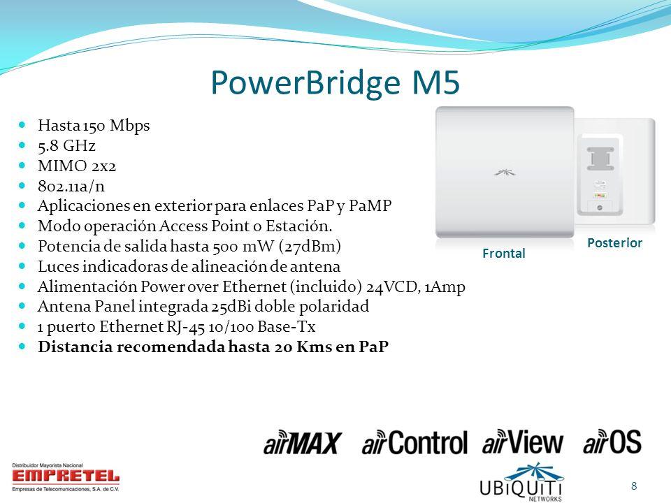 Administración vía interfaz WEB Dirección IP estática 192.168.1.20 Usuario: ubnt Contraseña: ubnt 1 puerto LAN Luces indicadoras alineación antena Ejemplo consideraciones Enlace Punto-a-Punto PowerBridgeM5 Frontal Posterior 19