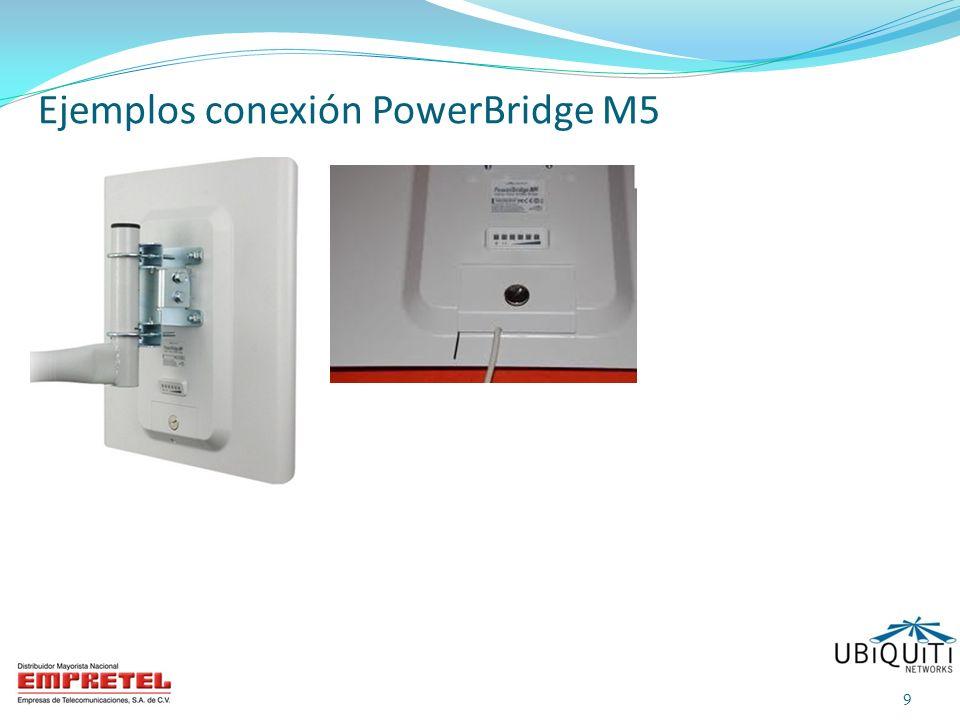 70 Mbps / 5.8 GHz 8 Kms Computadora Fuente PoE Cable UTP Cat 5 Exteriores Cable UTP Cat 5 Ext Cable UTP Cat 5 Int PowerBridge M5 Wireless Mode: Access Point Wireless Mode: Station Diagrama de conexión 192.168.1.20 IP default 192.168.1.21 192.168.1.22 192.168.1.23 20 PowerBridge M5
