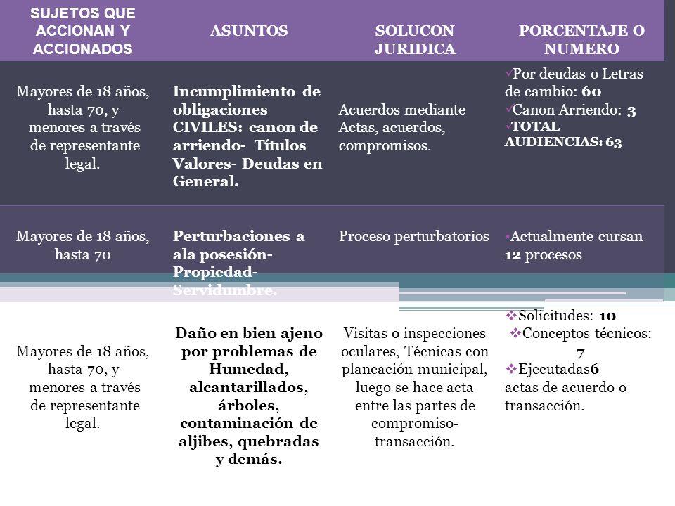 SUJETOS QUE ACCIONAN Y ACCIONADOS ASUNTOSSOLUCON JURIDICA PORCENTAJE O NUMERO Demandantes, y operadores judiciales.