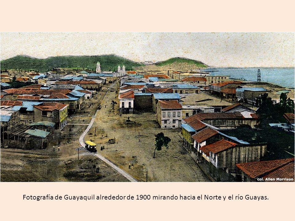 Fotografía de Guayaquil alrededor de 1900 mirando hacia el Norte y el río Guayas.