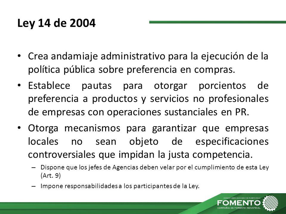 Ley 14 de 2004 Crea andamiaje administrativo para la ejecución de la política pública sobre preferencia en compras. Establece pautas para otorgar porc