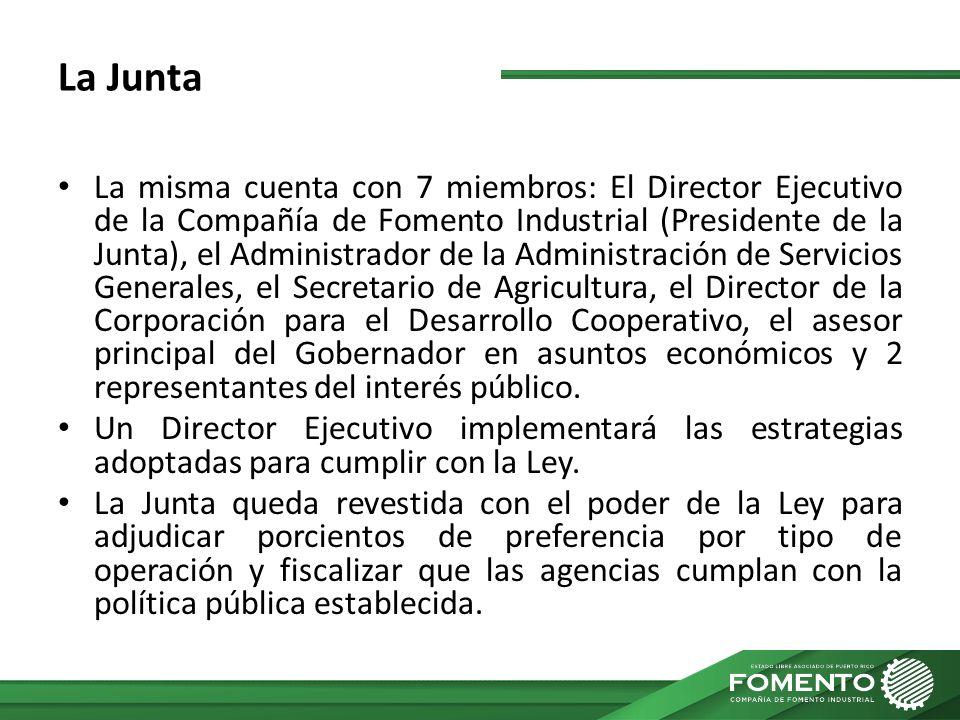 La Junta La misma cuenta con 7 miembros: El Director Ejecutivo de la Compañía de Fomento Industrial (Presidente de la Junta), el Administrador de la A