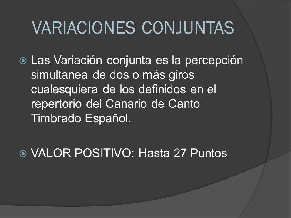 VARIACIONES CONJUNTAS Las Variación conjunta es la percepción simultanea de dos o más giros cualesquiera de los definidos en el repertorio del Canario