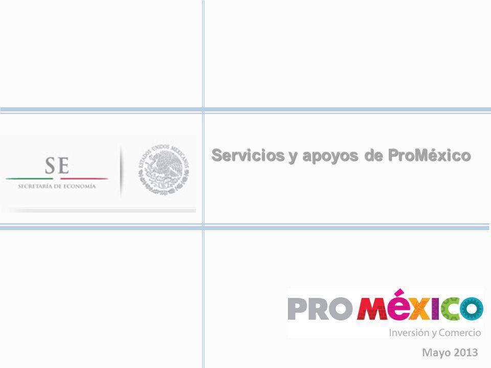 SERVICIOS DE PROMÉXICO NOMBRE DEL SERVICIO RESUMEN DEL SERVICIOMONTO MÁXIMO Agenda de Negocios Consiste en programar entrevistas para un Beneficiario con importadores o compradores, en países donde ProMéxico cuenta con Oficinas de Representación en el Exterior (OREX).