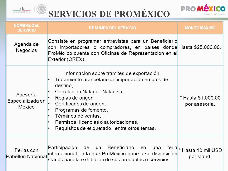SERVICIOS DE PROMÉXICO NOMBRE DEL SERVICIO RESUMEN DEL SERVICIOMONTO MÁXIMO Agenda de Negocios Consiste en programar entrevistas para un Beneficiario