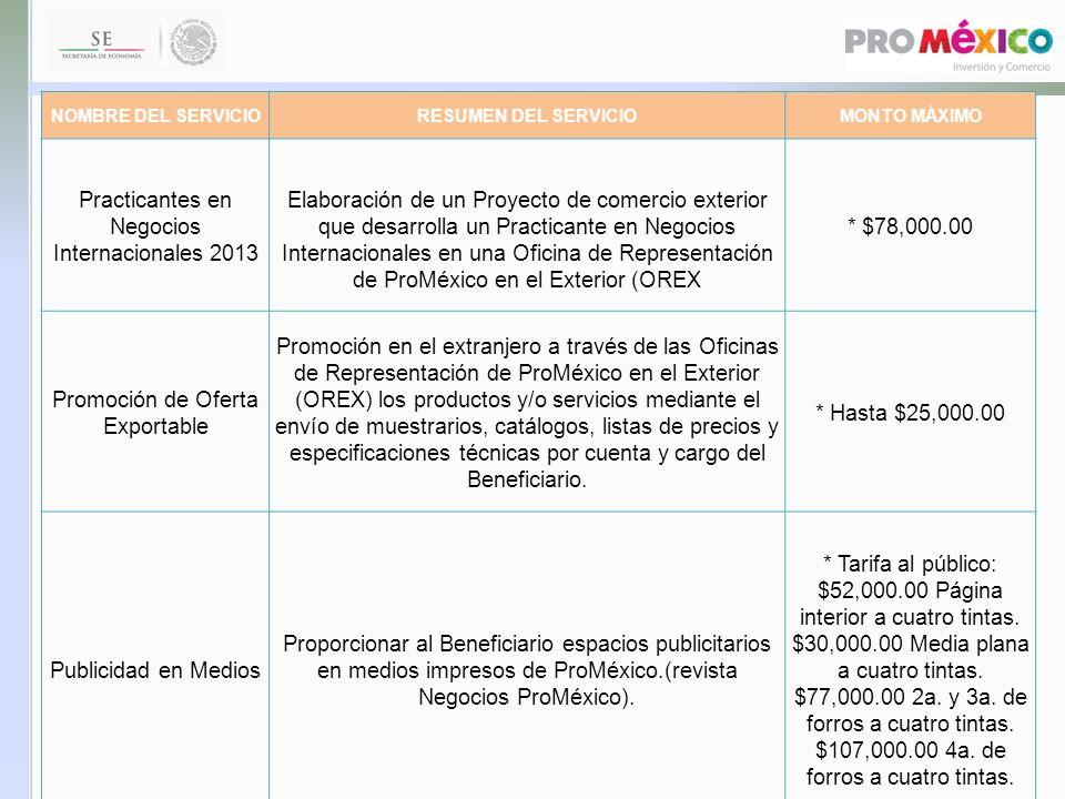 NOMBRE DEL SERVICIORESUMEN DEL SERVICIOMONTO MÁXIMO Practicantes en Negocios Internacionales 2013 Elaboración de un Proyecto de comercio exterior que