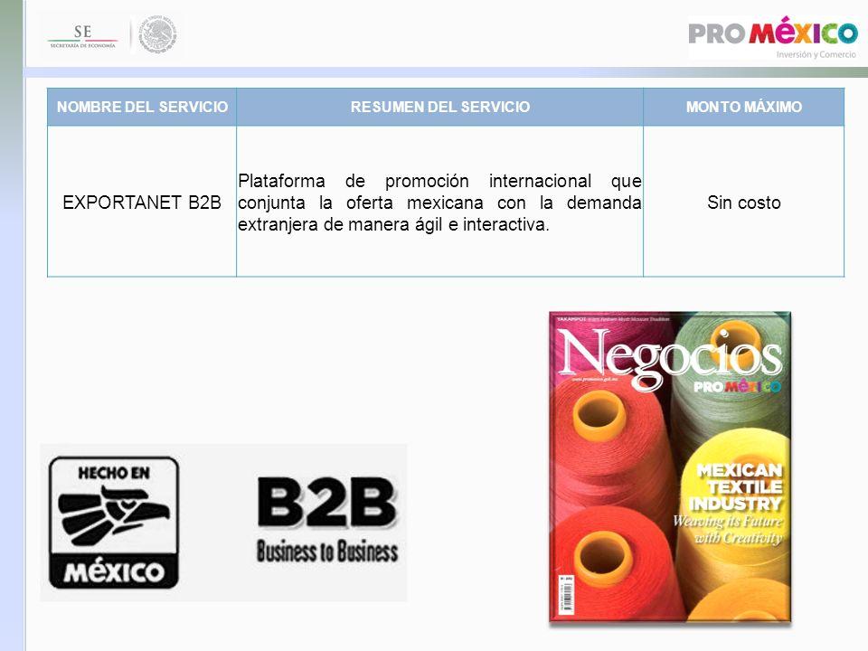 NOMBRE DEL SERVICIORESUMEN DEL SERVICIOMONTO MÁXIMO EXPORTANET B2B Plataforma de promoción internacional que conjunta la oferta mexicana con la demand