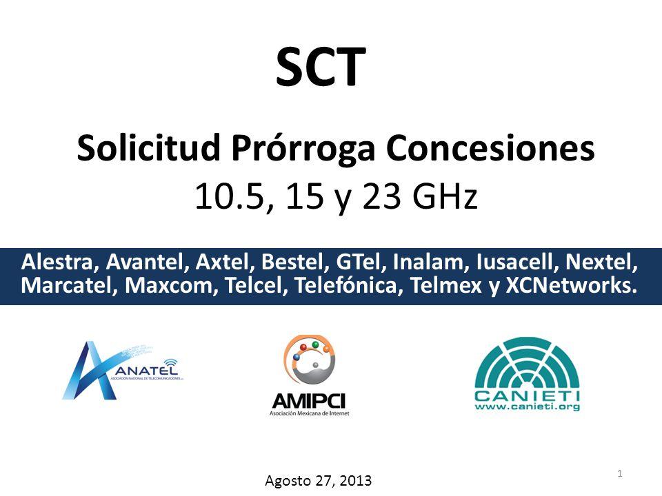 Solicitud Prórroga Concesiones 10.5, 15 y 23 GHz Alestra, Avantel, Axtel, Bestel, GTel, Inalam, Iusacell, Nextel, Marcatel, Maxcom, Telcel, Telefónica, Telmex y XCNetworks.