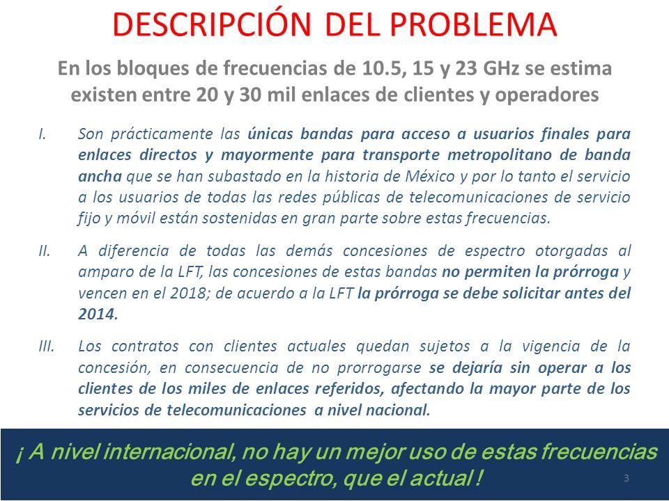 DESCRIPCIÓN DEL PROBLEMA En los bloques de frecuencias de 10.5, 15 y 23 GHz se estima existen entre 20 y 30 mil enlaces de clientes y operadores I.Son prácticamente las únicas bandas para acceso a usuarios finales para enlaces directos y mayormente para transporte metropolitano de banda ancha que se han subastado en la historia de México y por lo tanto el servicio a los usuarios de todas las redes públicas de telecomunicaciones de servicio fijo y móvil están sostenidas en gran parte sobre estas frecuencias.