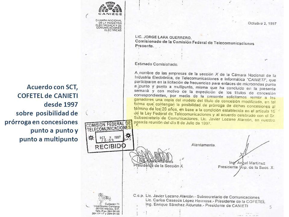 Acuerdo con SCT, COFETEL de CANIETI desde 1997 sobre posibilidad de prórroga en concesiones punto a punto y punto a multipunto 5