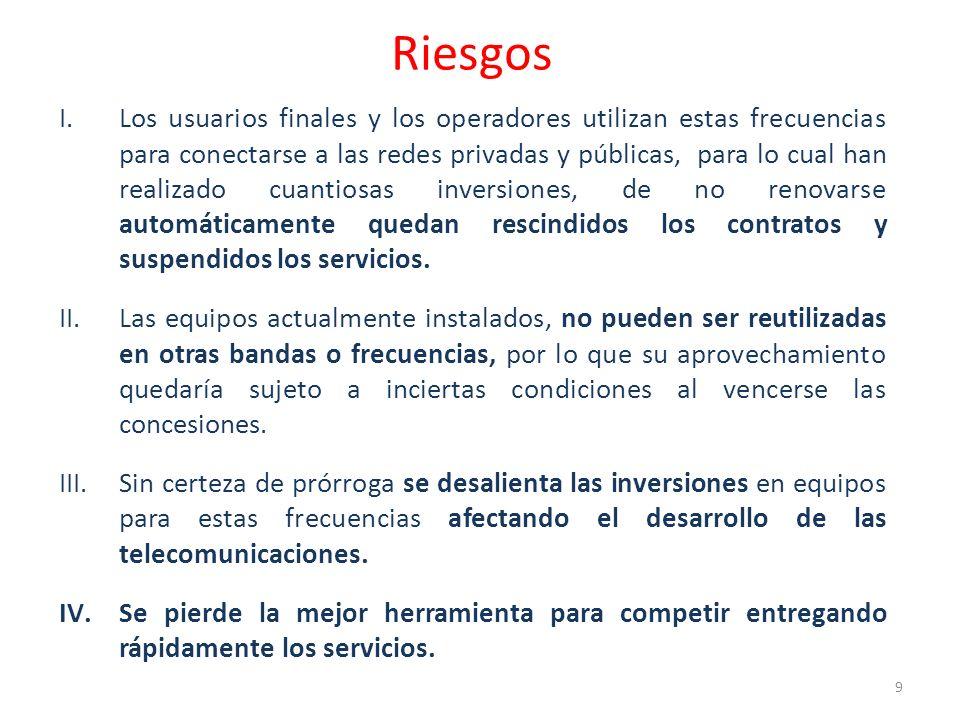 Riesgos I.Los usuarios finales y los operadores utilizan estas frecuencias para conectarse a las redes privadas y públicas, para lo cual han realizado cuantiosas inversiones, de no renovarse automáticamente quedan rescindidos los contratos y suspendidos los servicios.