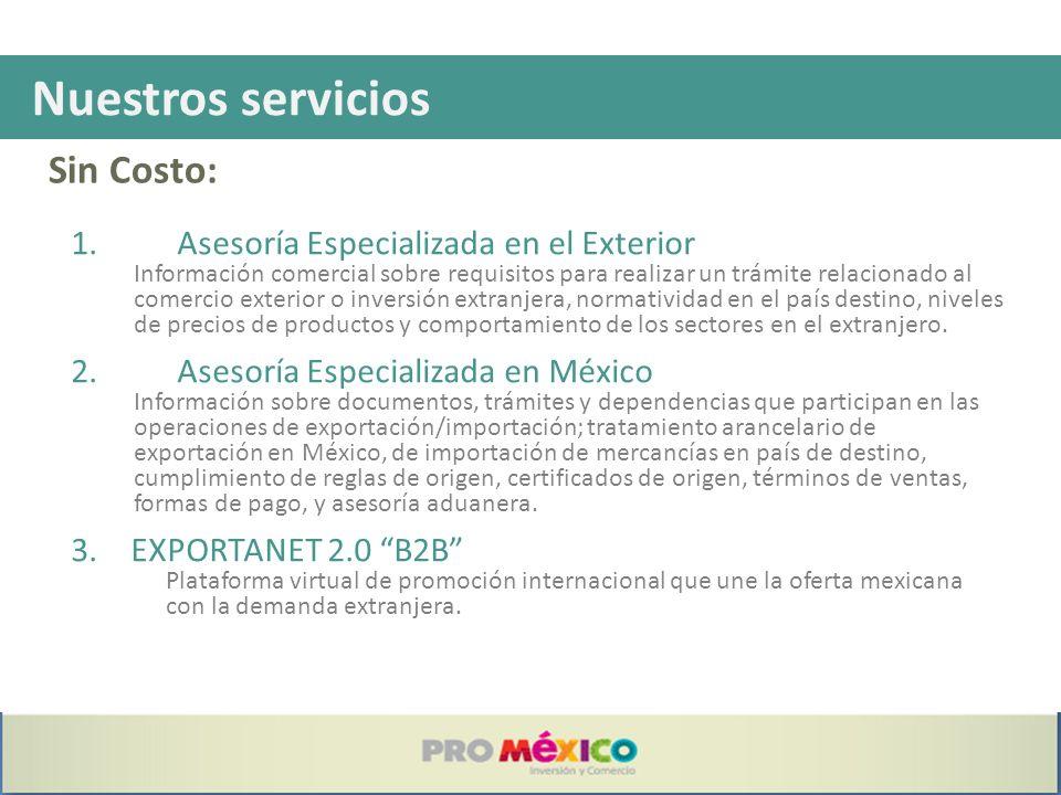 Sin Costo: Nuestros servicios 1.Asesoría Especializada en el Exterior Información comercial sobre requisitos para realizar un trámite relacionado al c