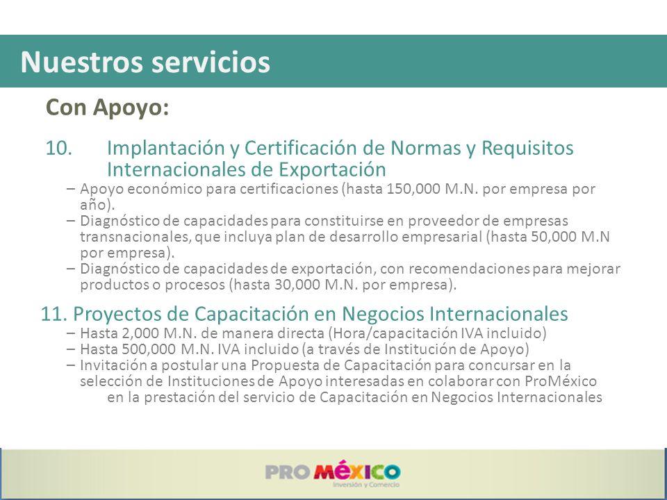 Nuestros servicios 10. Implantación y Certificación de Normas y Requisitos Internacionales de Exportación –Apoyo económico para certificaciones (hasta