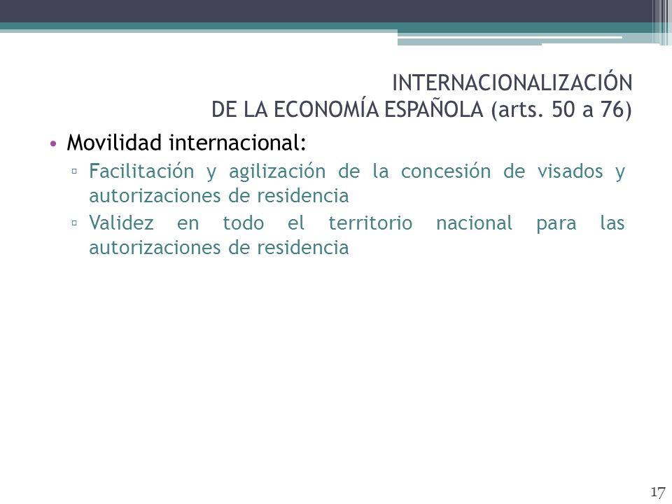 INTERNACIONALIZACIÓN DE LA ECONOMÍA ESPAÑOLA (arts.
