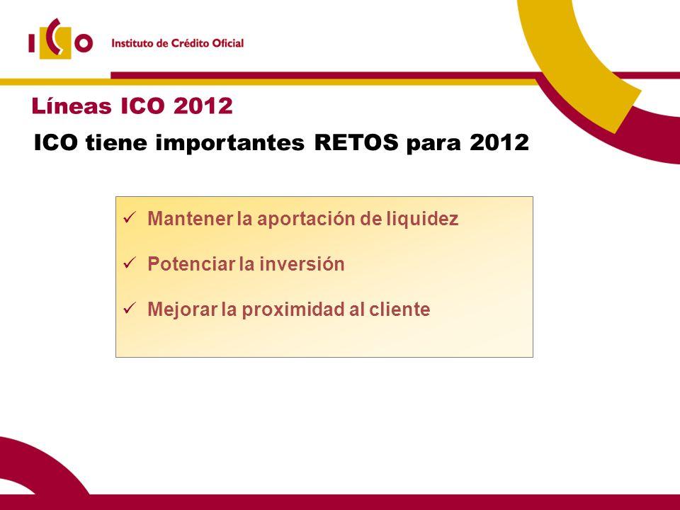 ICO tiene importantes RETOS para 2012 Mantener la aportación de liquidez Potenciar la inversión Mejorar la proximidad al cliente Líneas ICO 2012