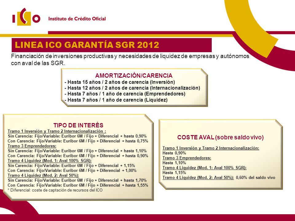20 LINEA ICO GARANTÍA SGR 2012 AMORTIZACIÓN/CARENCIA - Hasta 15 años / 2 años de carencia (Inversión) - Hasta 12 años / 2 años de carencia (Internacio