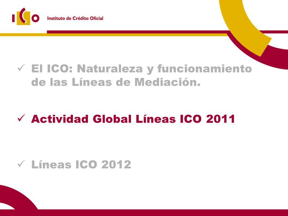 El ICO: Naturaleza y funcionamiento de las Líneas de Mediación. Actividad Global Líneas ICO 2011 Líneas ICO 2012
