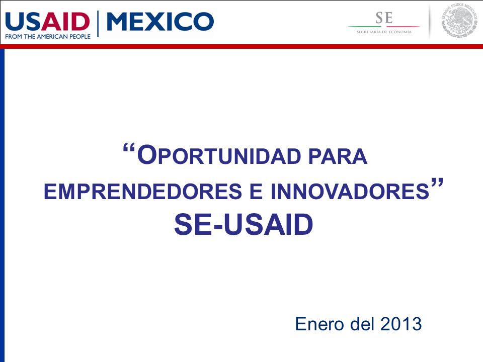 Enero del 2013 O PORTUNIDAD PARA EMPRENDEDORES E INNOVADORES SE-USAID