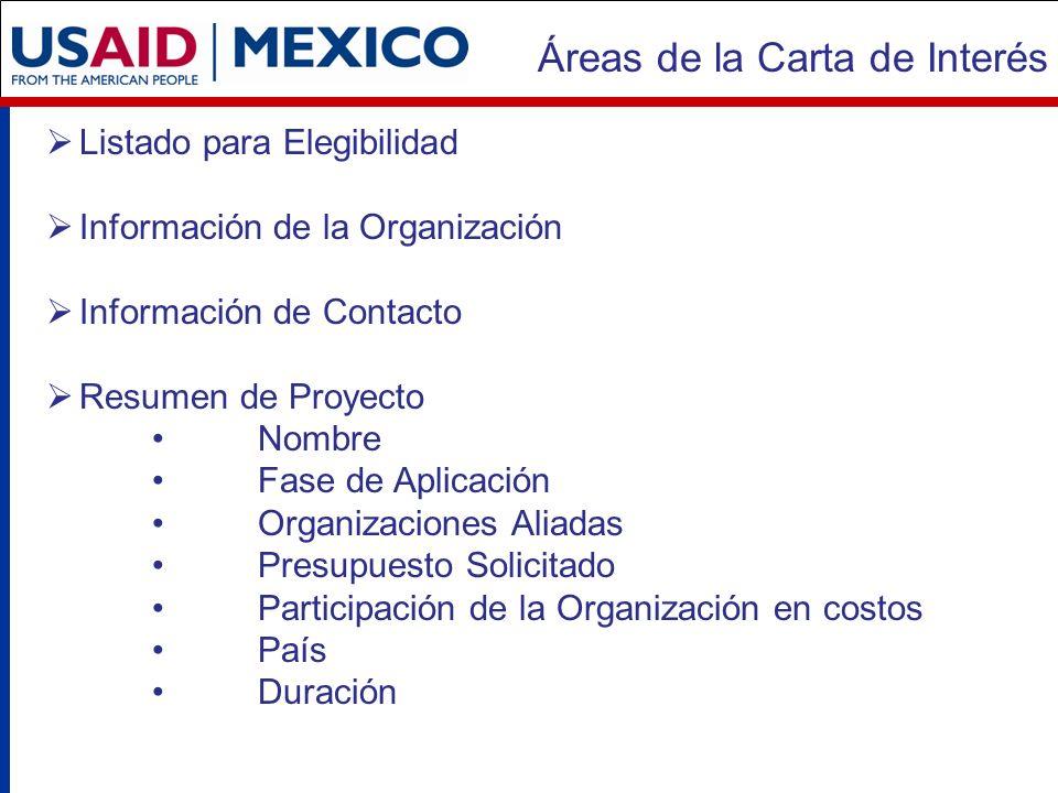 Áreas de la Carta de Interés Listado para Elegibilidad Información de la Organización Información de Contacto Resumen de Proyecto Nombre Fase de Aplicación Organizaciones Aliadas Presupuesto Solicitado Participación de la Organización en costos País Duración