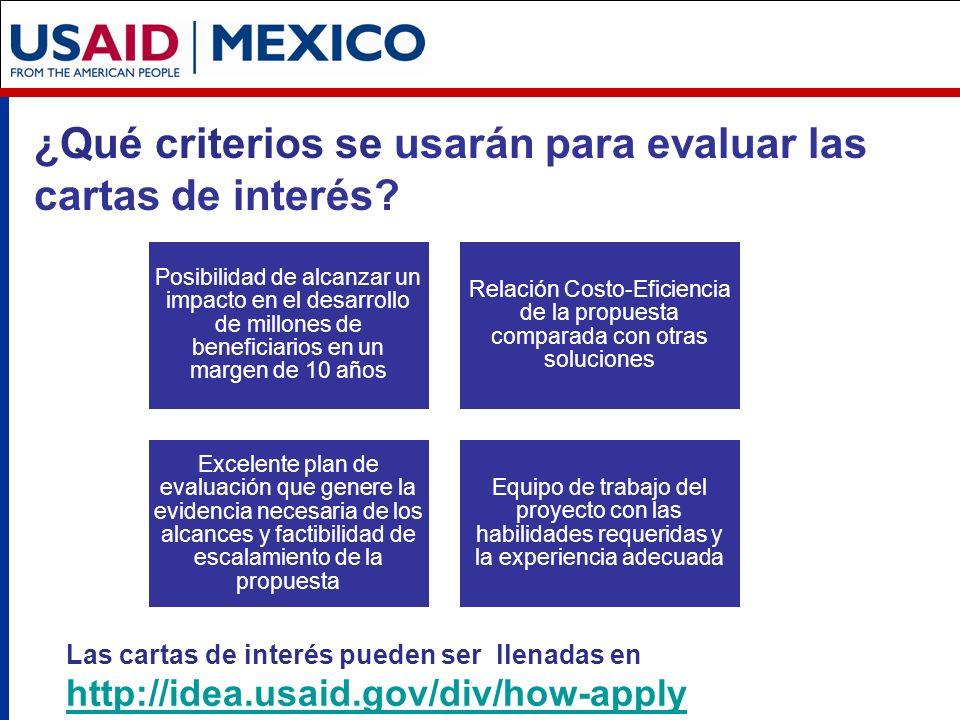 ¿Qué criterios se usarán para evaluar las cartas de interés.