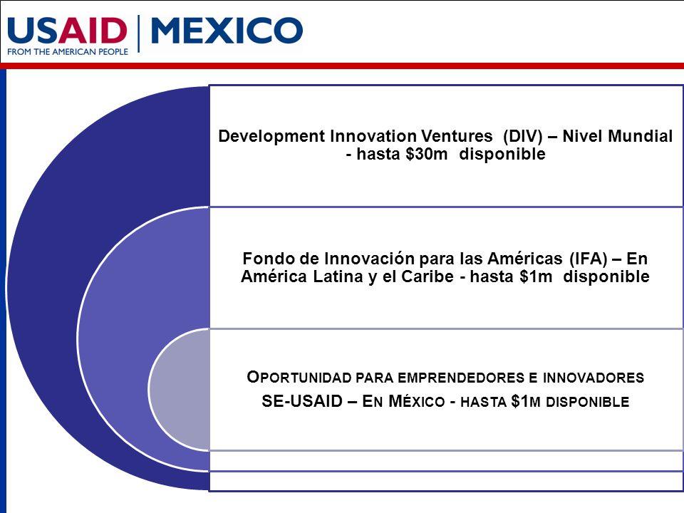 Development Innovation Ventures (DIV) – Nivel Mundial - hasta $30m disponible Fondo de Innovación para las Américas (IFA) – En América Latina y el Caribe - hasta $1m disponible O PORTUNIDAD PARA EMPRENDEDORES E INNOVADORES SE-USAID – E N M ÉXICO - HASTA $1 M DISPONIBLE